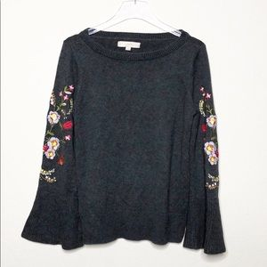 LOFT Embroidered Bell Sleeve Sweater